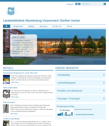 Screenshot der neu gestalteten Website